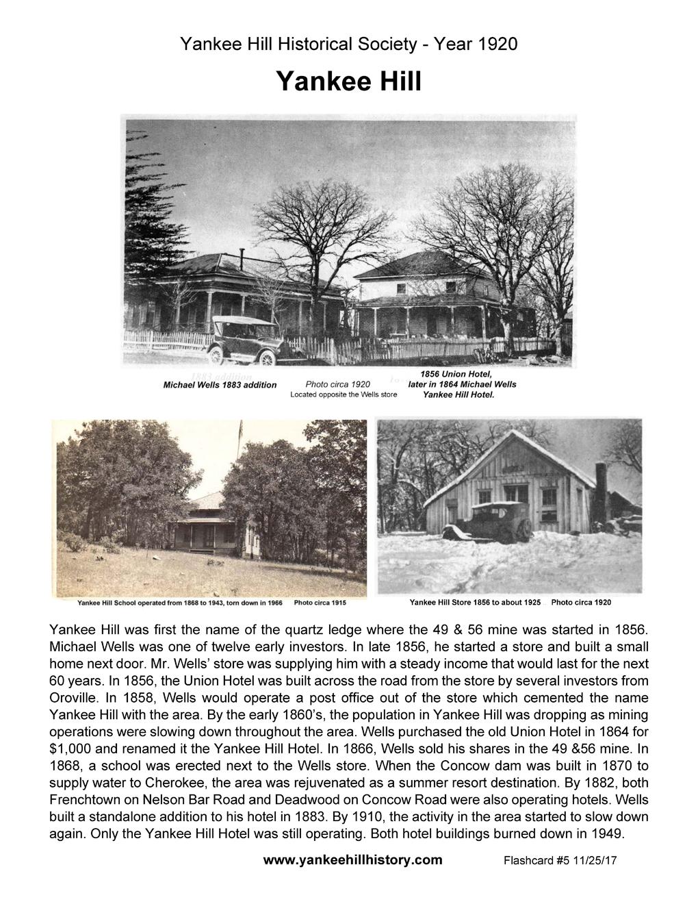 Flashcards - Yankee Hill Historical Society